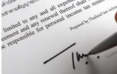 Signature on a Thai English lease agreement