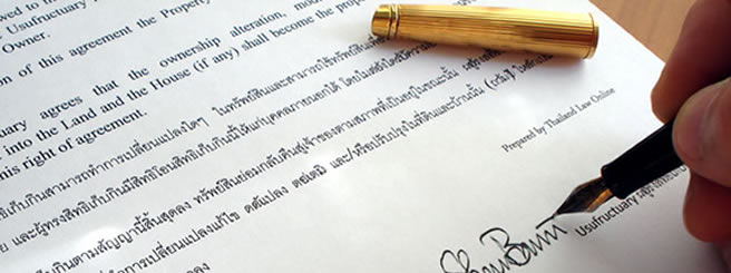 Close up of a usufruct contract Thai English